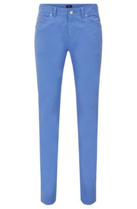 'Delaware' | Slim Fit, Stretch Cotton Trousers, Blue