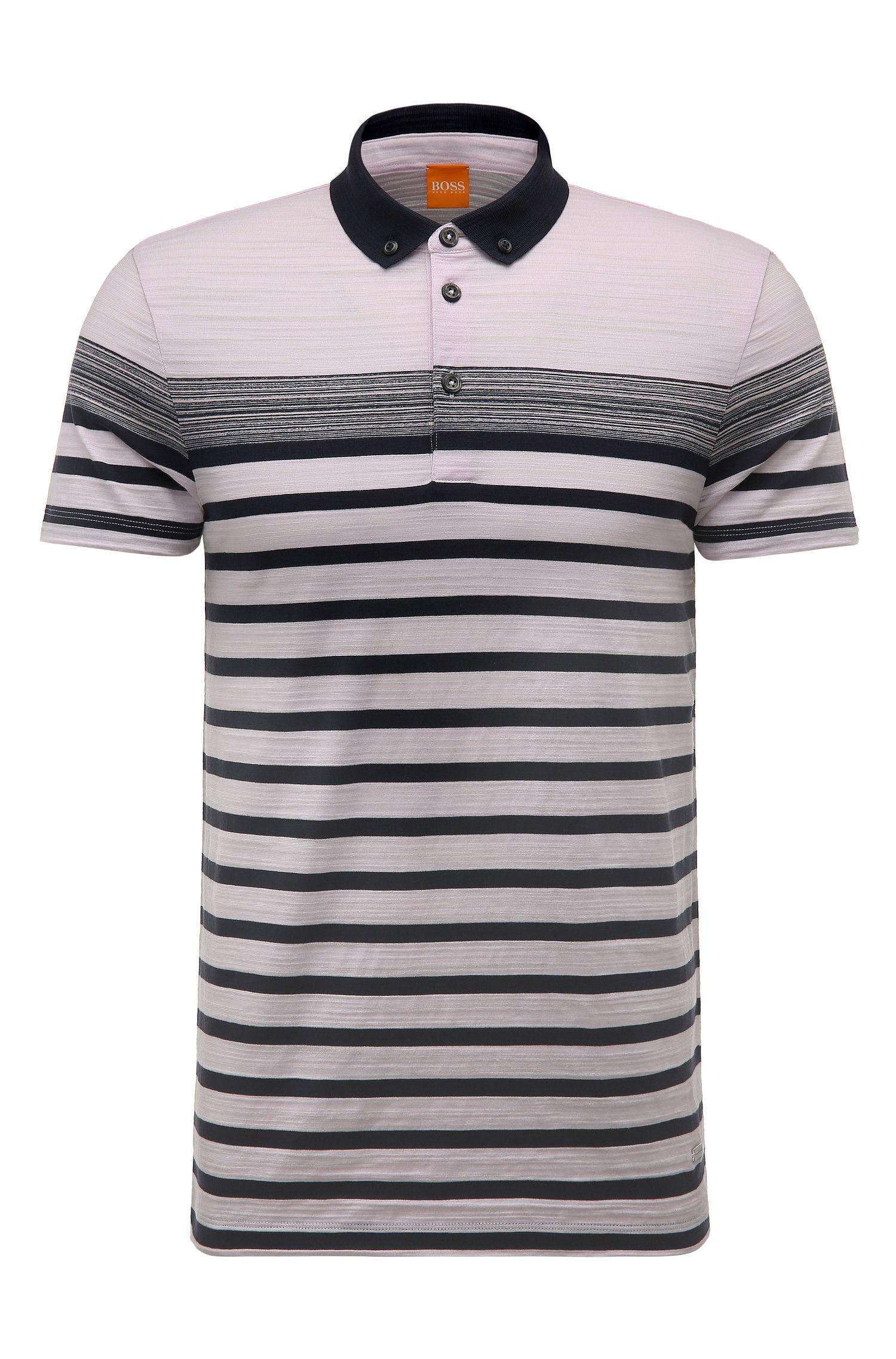 'Promo' | Regular Fit, Striped Cotton Polo Shirt