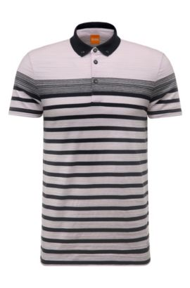 'Promo' | Regular Fit, Striped Cotton Polo Shirt , light pink