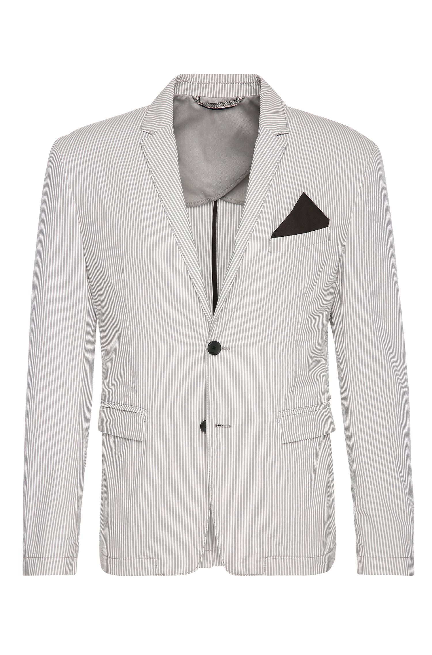 Cotton Seersucker Sport Coat, Slim Fit | Bans BS W, Open White