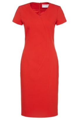 'Dydali' | Stretch Cotton Blend Sheath Dress, Red