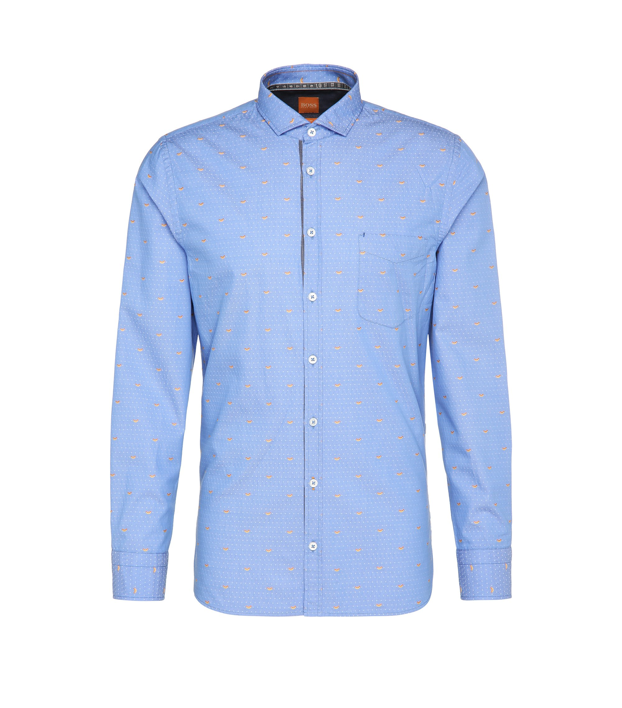 Patterned Cotton Sport Shirt, Slim Fit | Cattitude, Open Blue