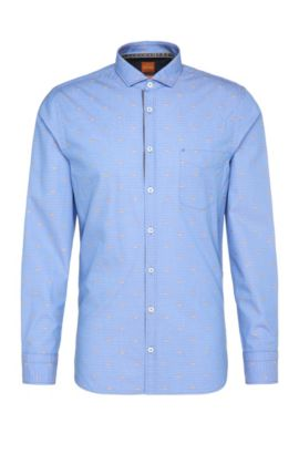 'Cattitude' | Slim Fit, Patterned Cotton Button Down Shirt, Open Blue