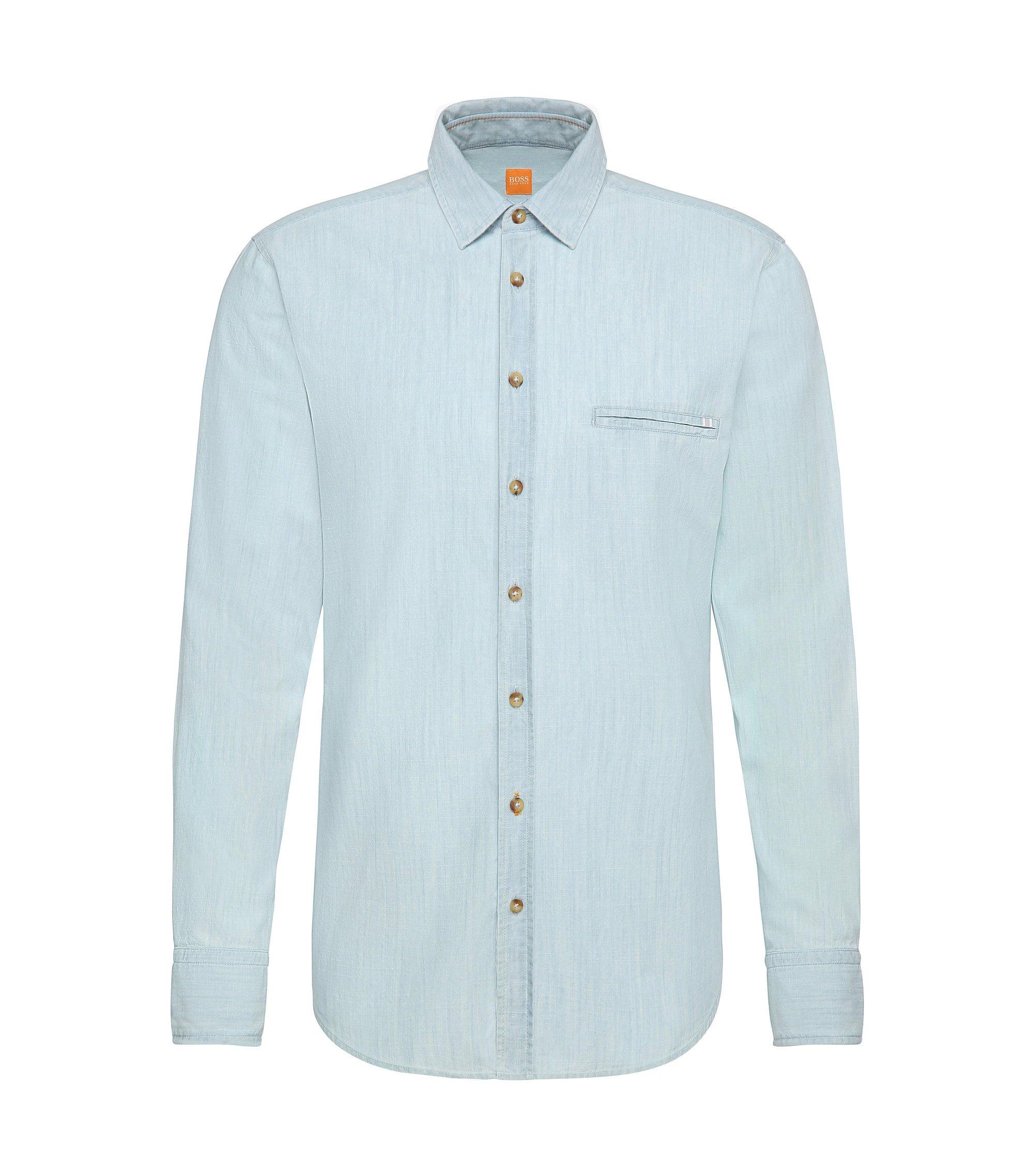 Cotton Denim Button Down Shirt, Regular Fit | Elvedge, Open Blue