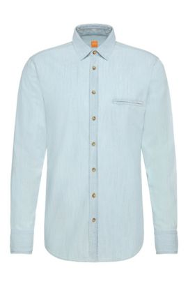 'Elvedge' | Regular Fit, Cotton Denim Button Down Shirt, Open Blue