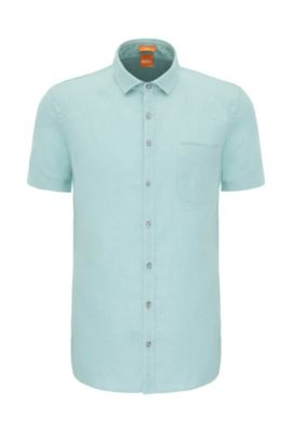 'Cattitude Short' | Slim Fit, Linen Button Down Shirt, Turquoise