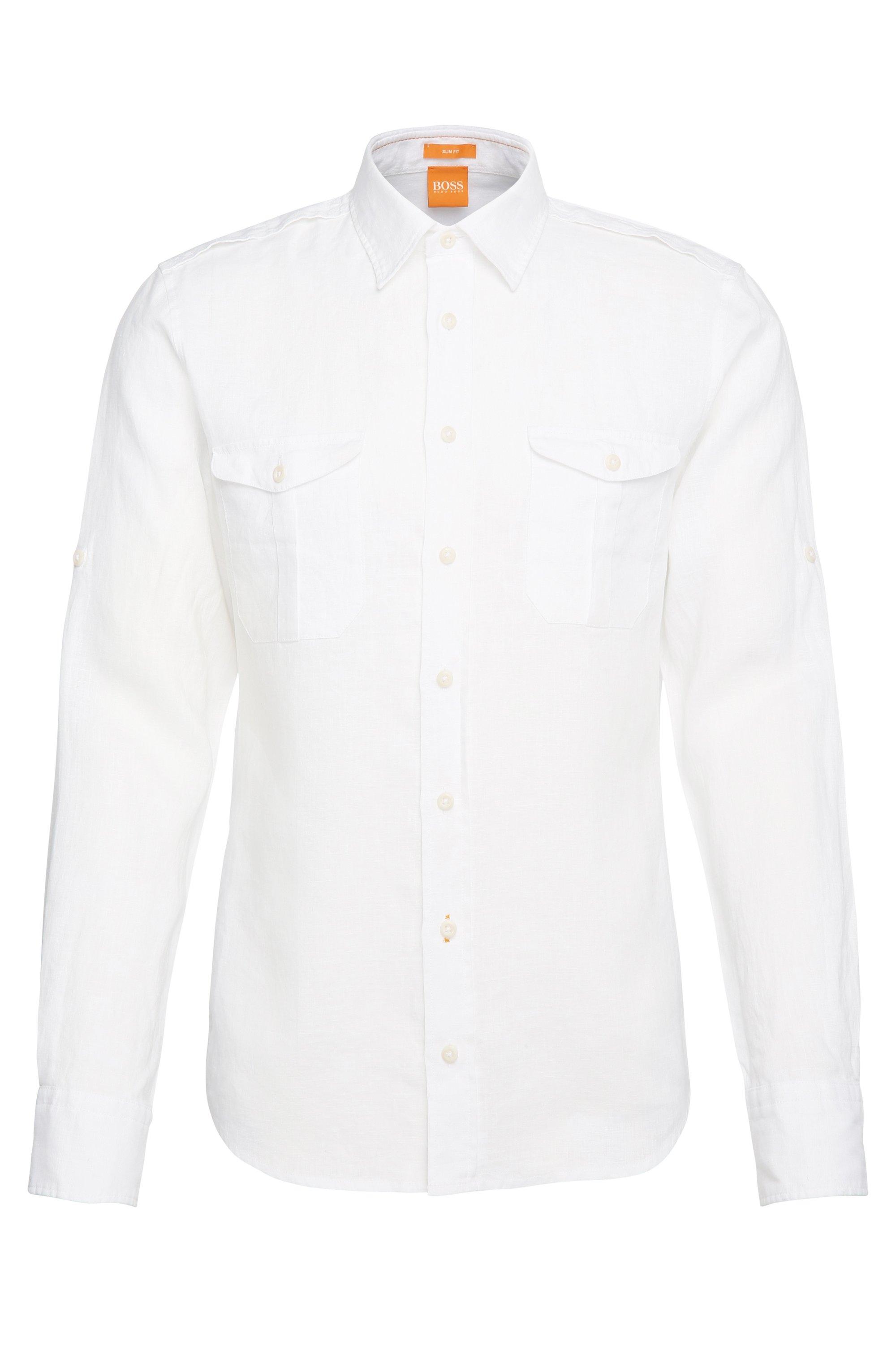 Cotton Button Down Shirt, Slim Fit | Cadetto, White