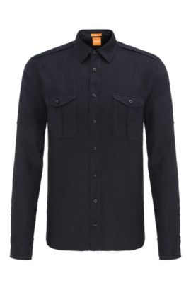 'Cadetto' | Slim Fit, Cotton Button Down Shirt, Dark Blue