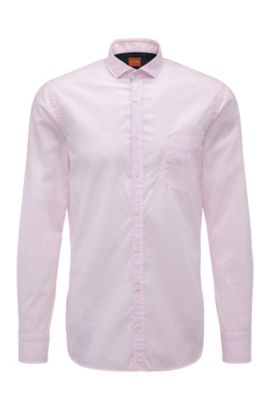 'Cattitude' | Slim Fit, Cotton Button Down Shirt, light pink