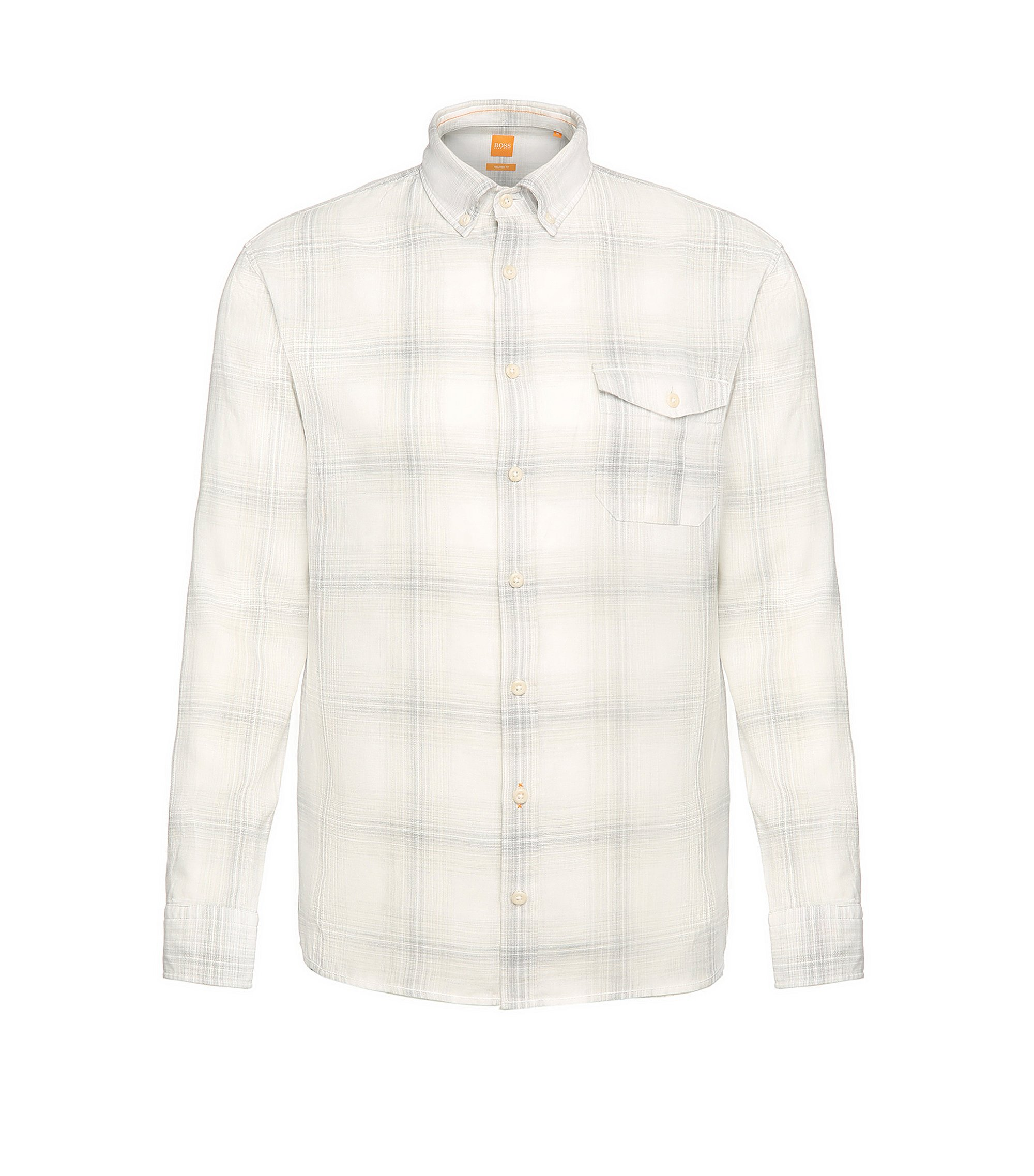 Cotton Linen Plaid Sport Shirt, Regular Fit | Elabor, Light Grey