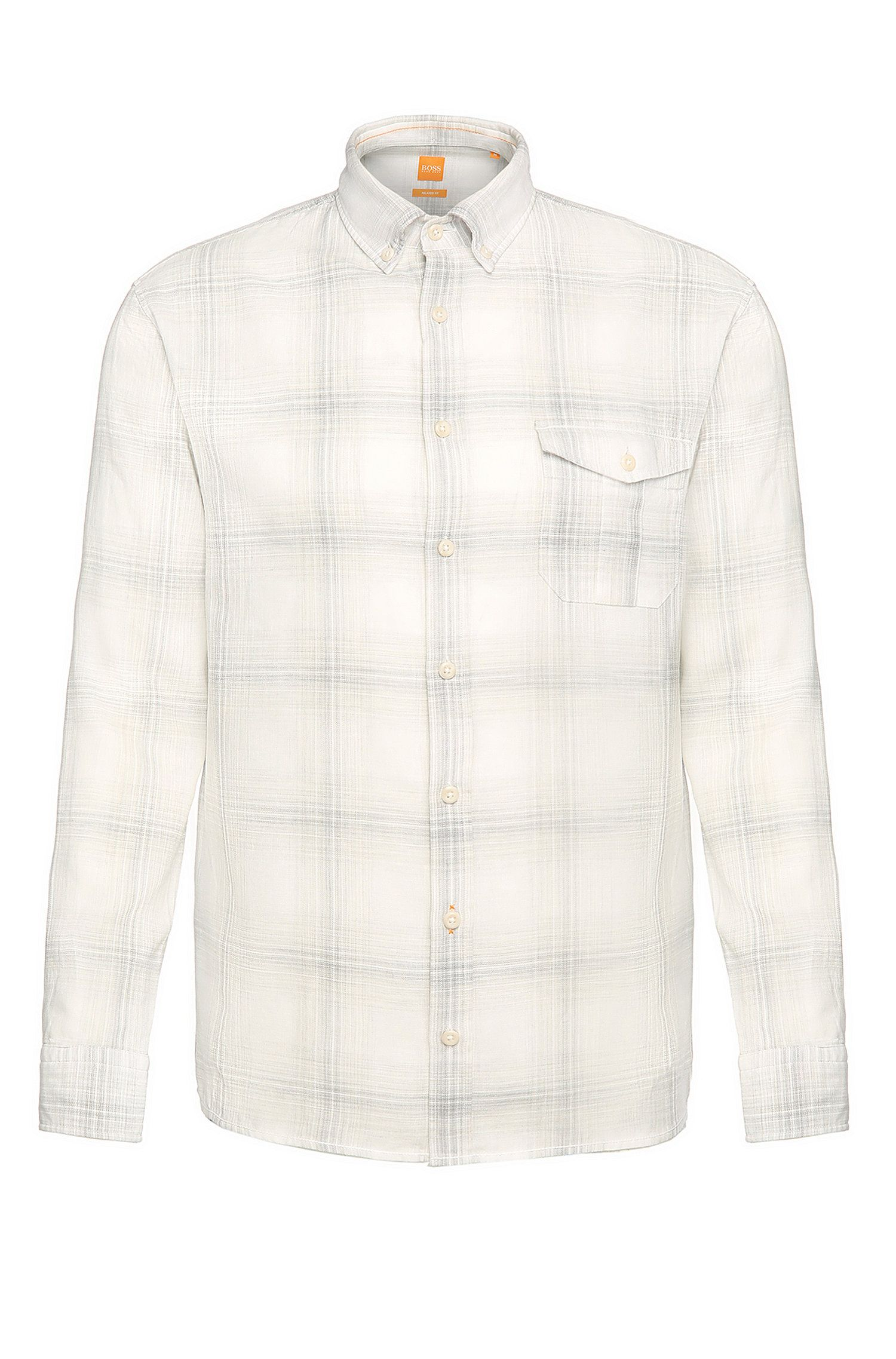 Cotton Linen Plaid Button Down Shirt, Regular Fit | Elabor