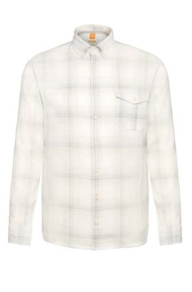 'Elabor' | Regular Fit, Cotton Linen Plaid Button Down Shirt, Light Grey