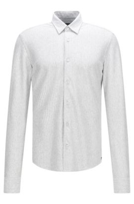 'Reid F' | Slim Fit, Cotton Jersey Button Down Shirt, White