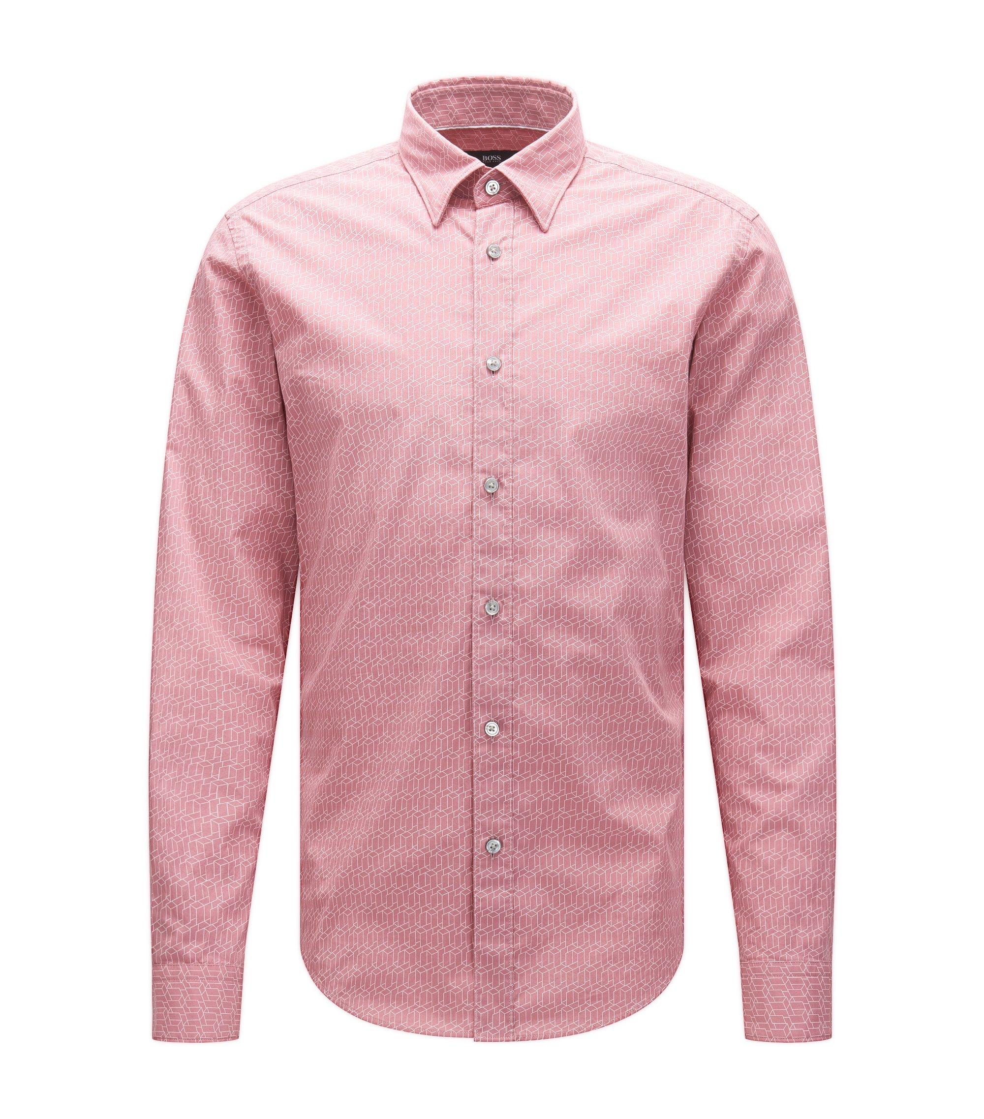 Geo-Print Italian Cotton Button Down Shirt, Slim Fit | Rodney, Pink