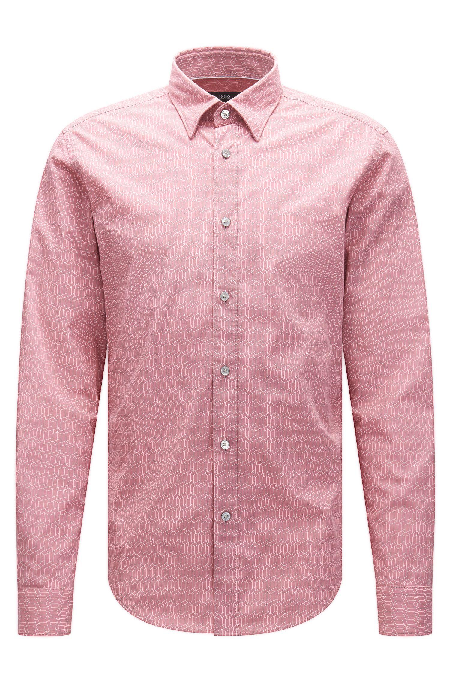'Rodney' | Slim Fit, Geo-Print Italian Cotton Sport Shirt