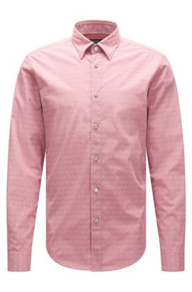 Geo-Print Italian Cotton Button Down Shirt, Slim Fit | Rodney, Pink