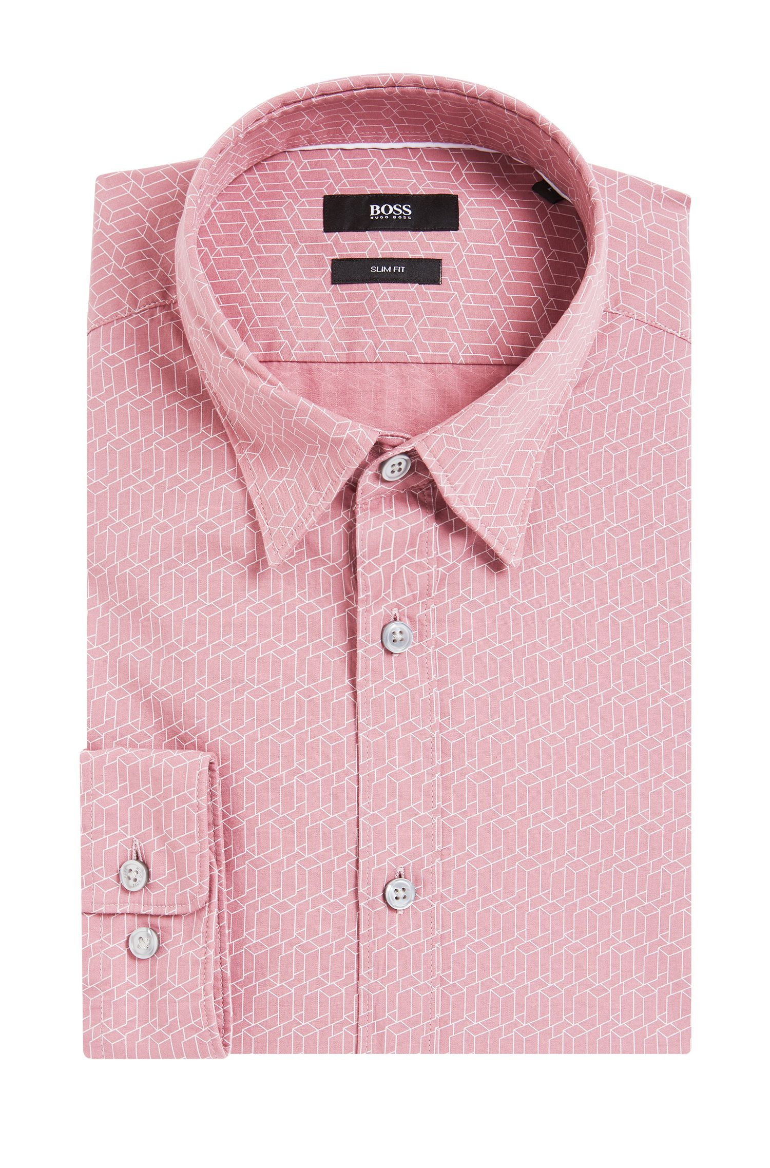 Geo-Print Italian Cotton Button Down Shirt, Slim Fit | Rodney