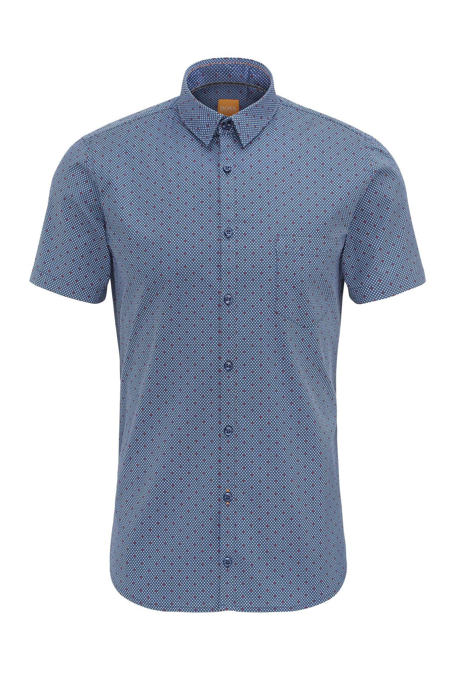 'Eglam Short' | Extra Slim Fit, Stretch Cotton Button Down Shirt