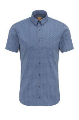 'Eglam Short' | Extra Slim Fit, Stretch Cotton Button Down Shirt, Dark Blue