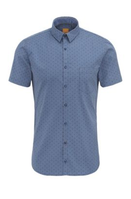 'Eglam Short' | Extra Slim Fit, Stretch Cotton Button Down Shirt, Dark Blue