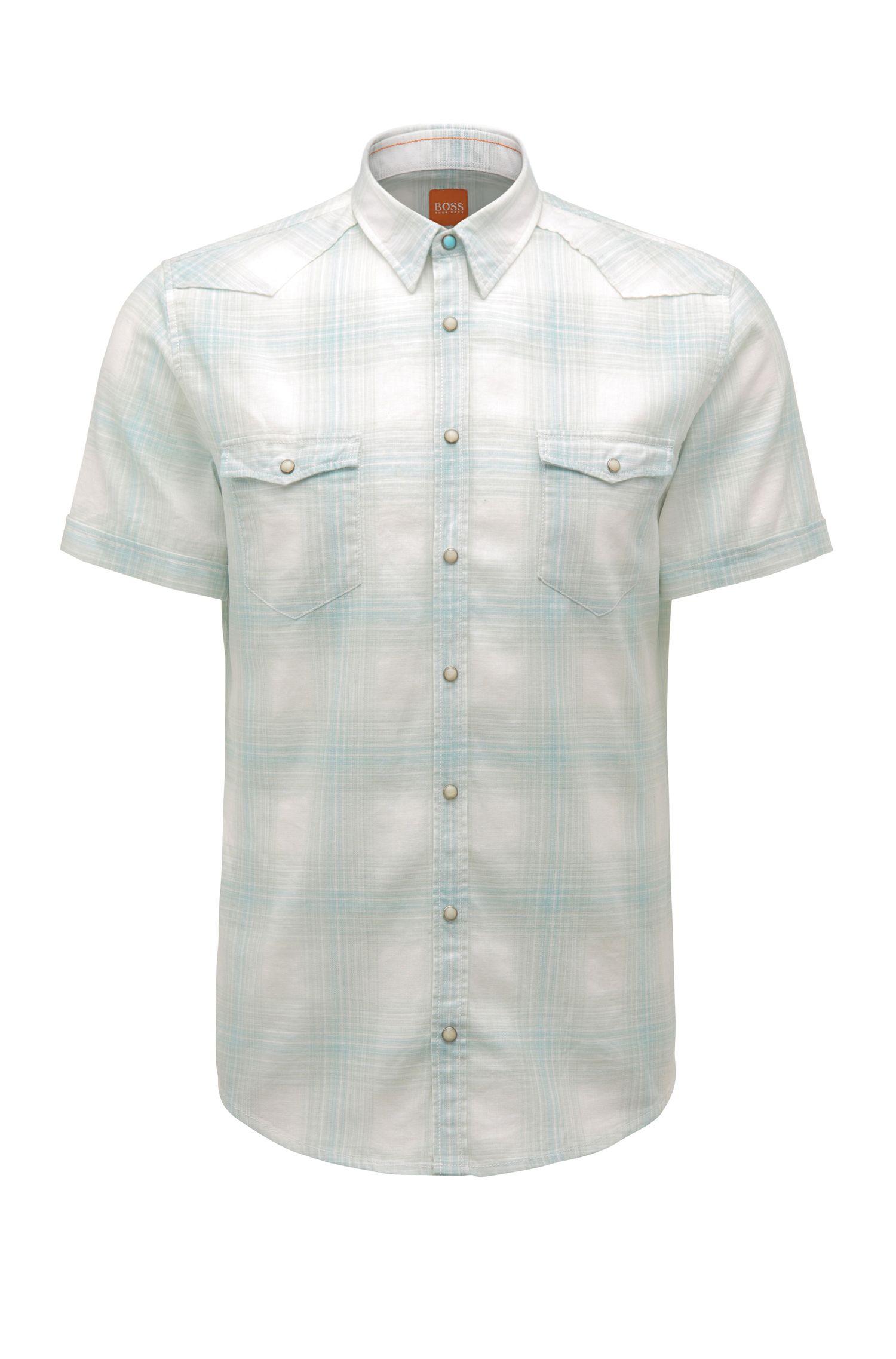 'Erodeo Short' | Slim Fit, Cotton Linen Plaid Button Down Shirt