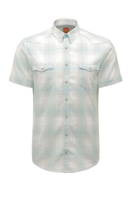 'Erodeo Short' | Slim Fit, Cotton Linen Plaid Button Down Shirt, Turquoise