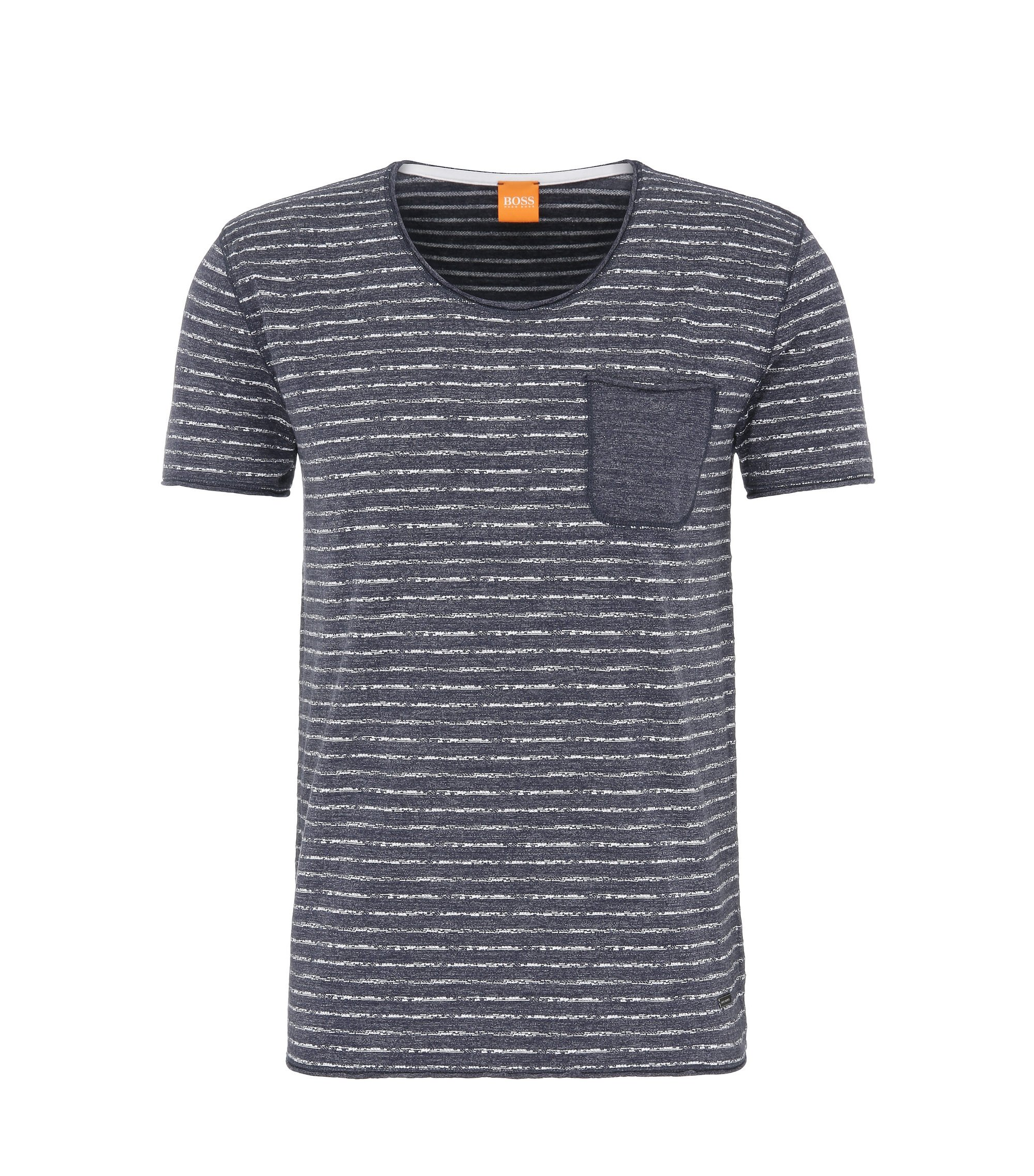 Cotton Stripe Pocket T-Shirt | Toa, Dark Blue