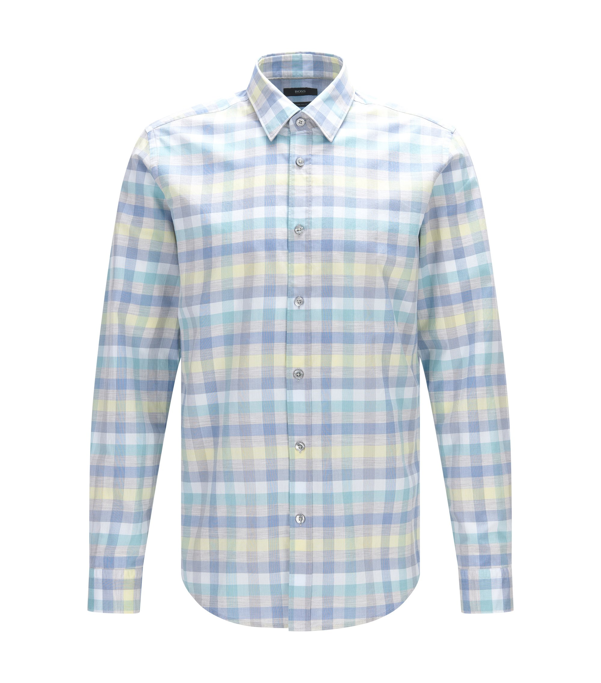 Cotton Button Down Shirt, Regular Fit | Lukas, Open Blue