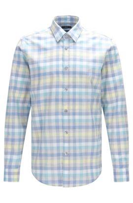 'Lukas' | Regular Fit, Cotton Button Down Shirt, Open Blue