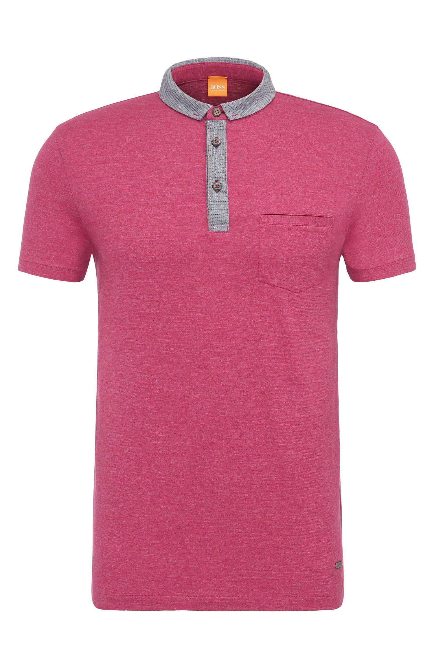 'Patcherman 1'   Regular Fit, Marled Cotton Polo Shirt