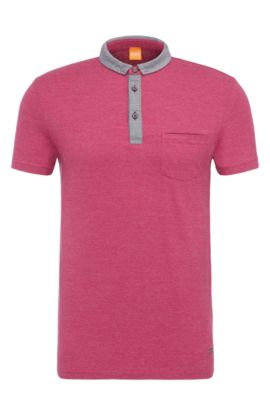 'Patcherman 1' | Regular Fit, Marled Cotton Polo Shirt, Pink