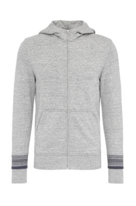 'Zappa' | Cotton French Terry Zip Hooded Jacket, Light Grey