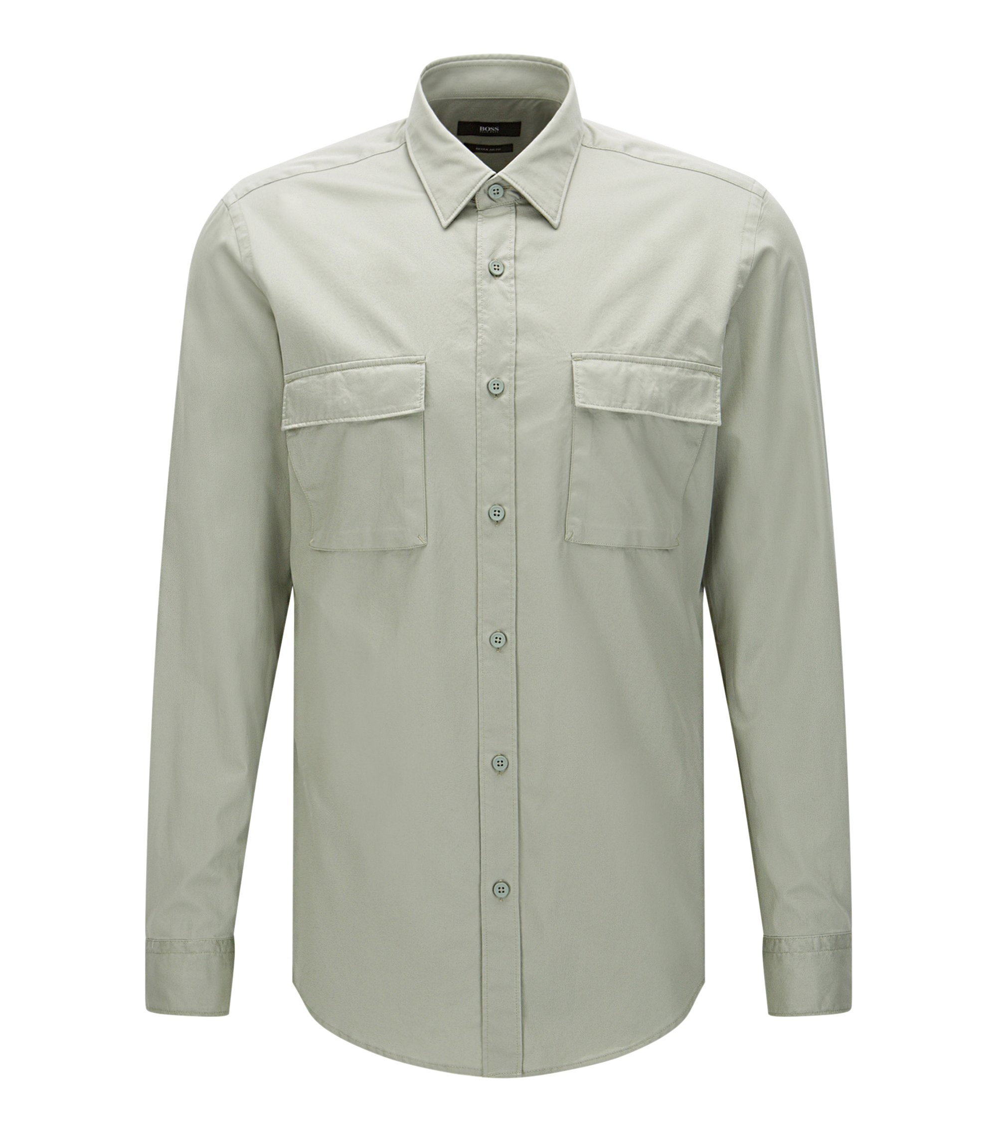 Cotton Button Down Shirt, Regular Fit | Lorin, Green