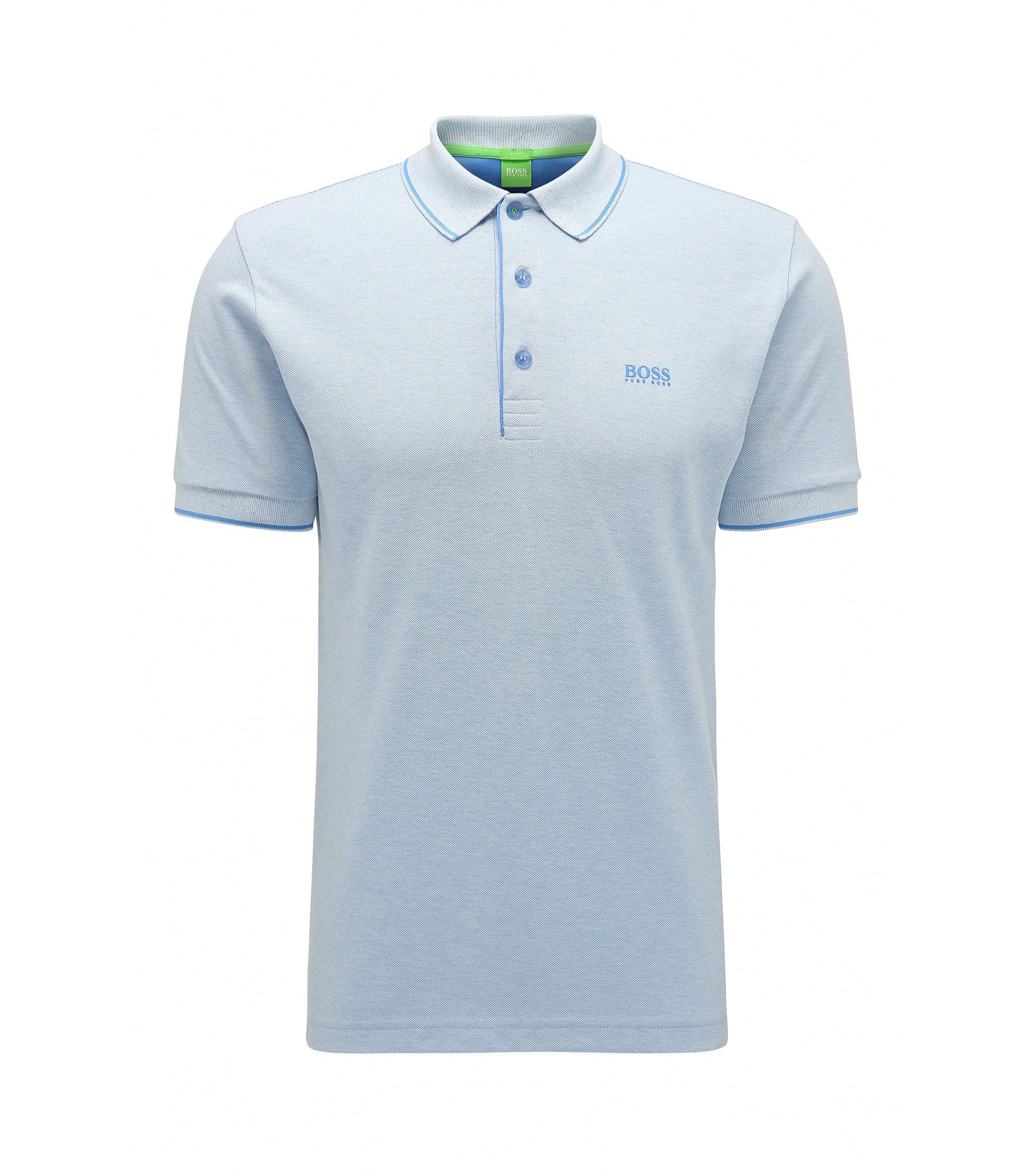 Stretch Cotton Polo Shirt, Slim Fit | Paule, Blue
