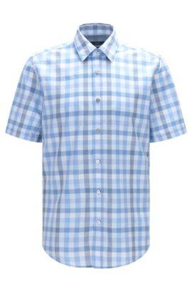 'Luka'   Regular Fit, Check Cotton Button Down Shirt, Dark Blue