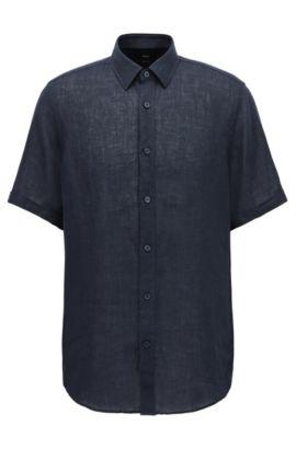 'Luka'   Regular Fit, Linen Button Down Shirt, Dark Blue
