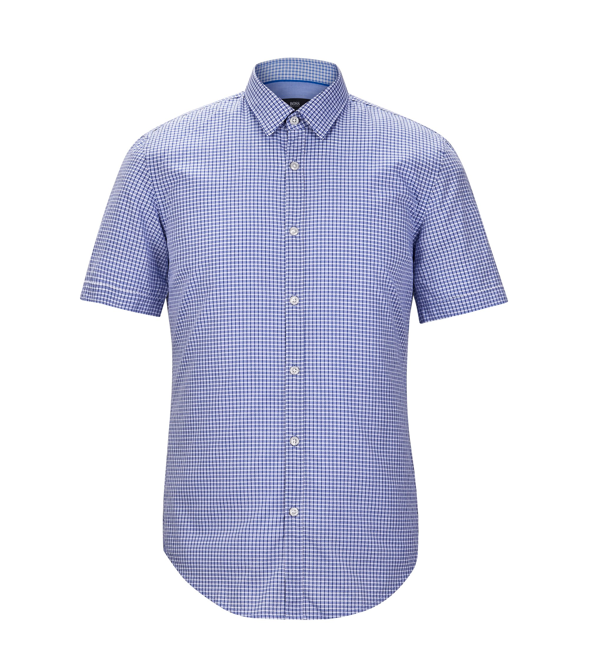 Cotton Blend Button-Down Shirt, Slim Fit | Ronn, Blue