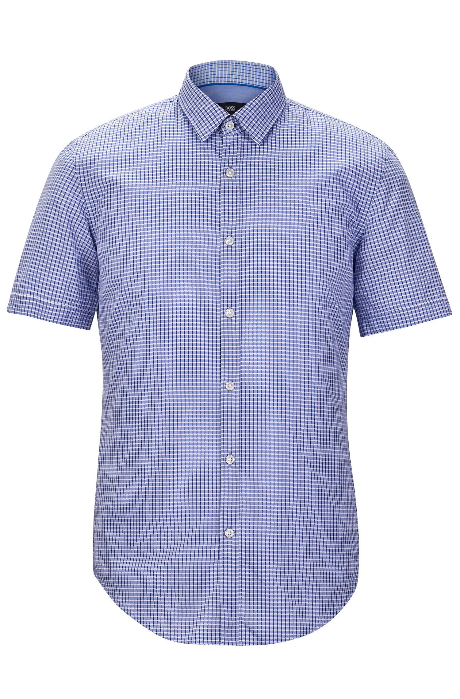 'Ronn' | Slim Fit, Check Garment Washed Cotton Blend Button-Down Shirt