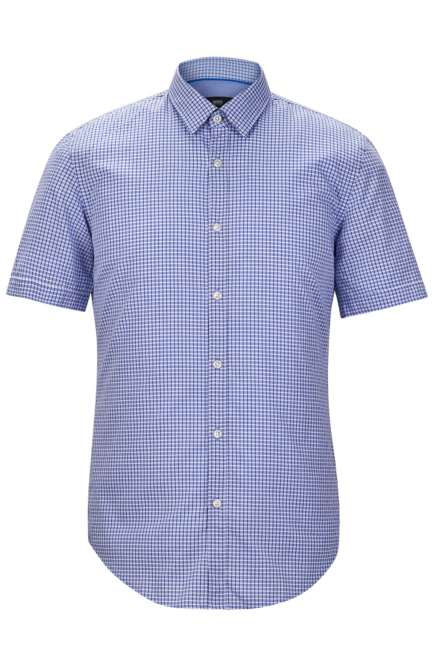 'Ronn' | Slim Fit, Check Garment Washed Cotton Blend Button-Down Shirt