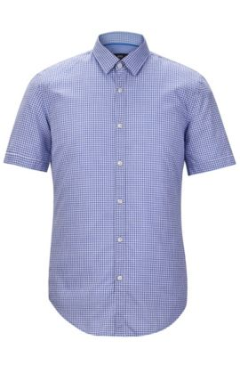'Ronn' | Slim Fit, Check Garment Washed Cotton Blend Button-Down Shirt, Blue