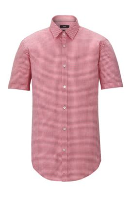 'Ronn' | Slim Fit, Check Garment Washed Cotton Blend Button-Down Shirt, Red