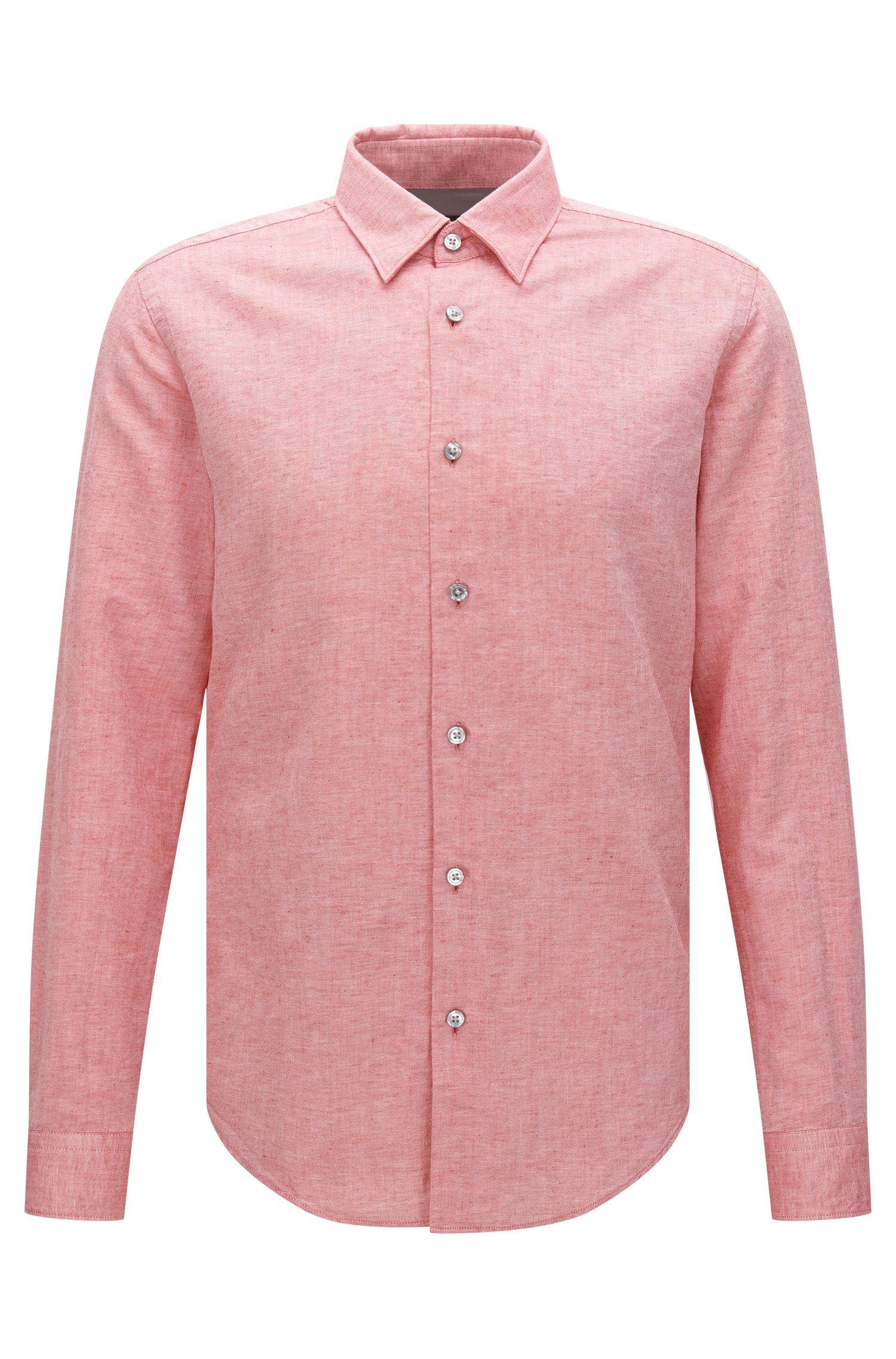 Cotton Linen Button Down Shirt, Slim Fit | Rodney
