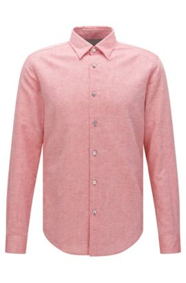 'Rodney' | Slim Fit, Cotton Linen Button Down Shirt, Red