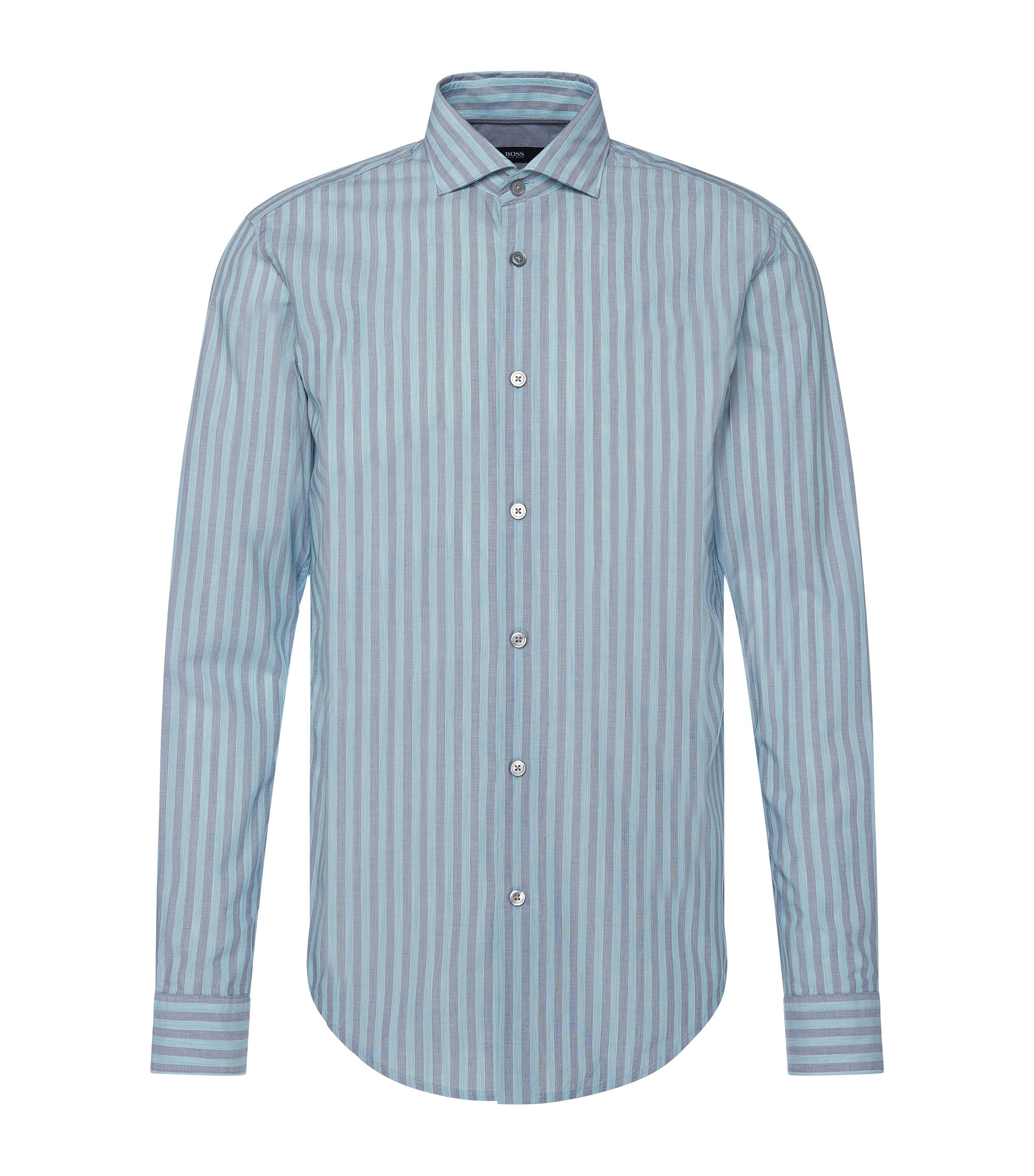 Cotton Striped Button Down Shirt, Slim Fit | Ridley, Open Green
