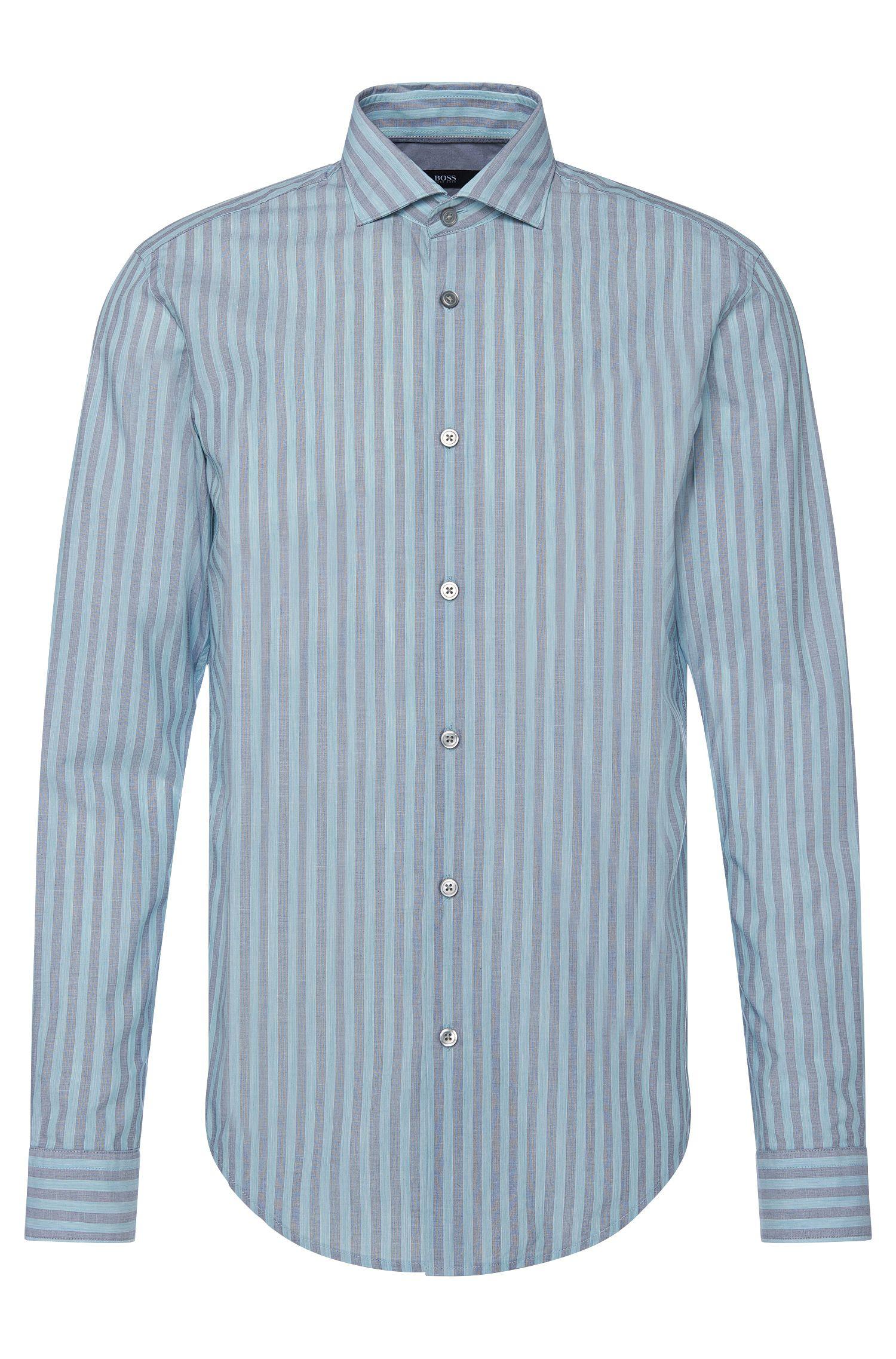 Cotton Striped Button Down Shirt, Slim Fit | Ridley, Open Green