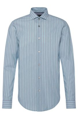 'Ridley' | Slim Fit, Cotton Striped Button Down Shirt, Open Green