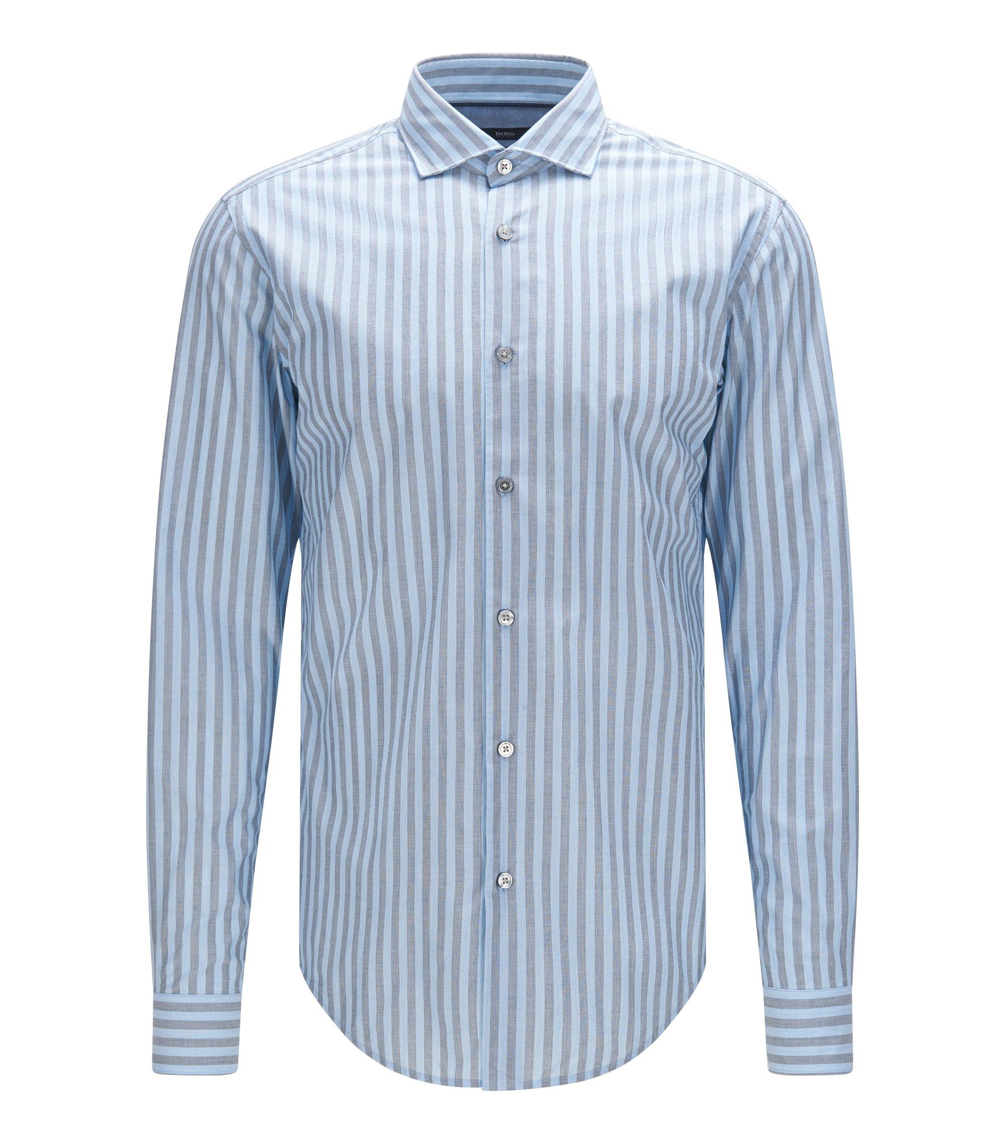 Cotton Striped Button Down Shirt, Slim Fit | Ridley, Dark Blue