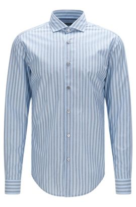 Cotton Striped Button Down Shirt, Slim Fit | Ridley, Dark Blue