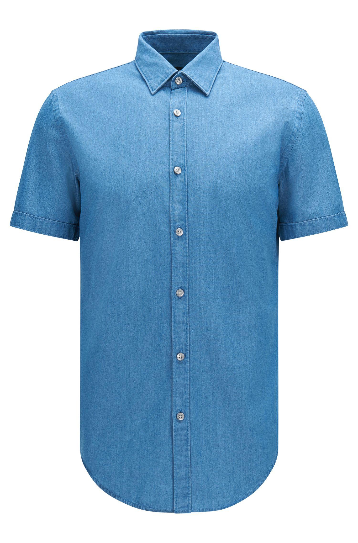 Cotton Button Down Shirt, Slim Fit | Ronn, Turquoise