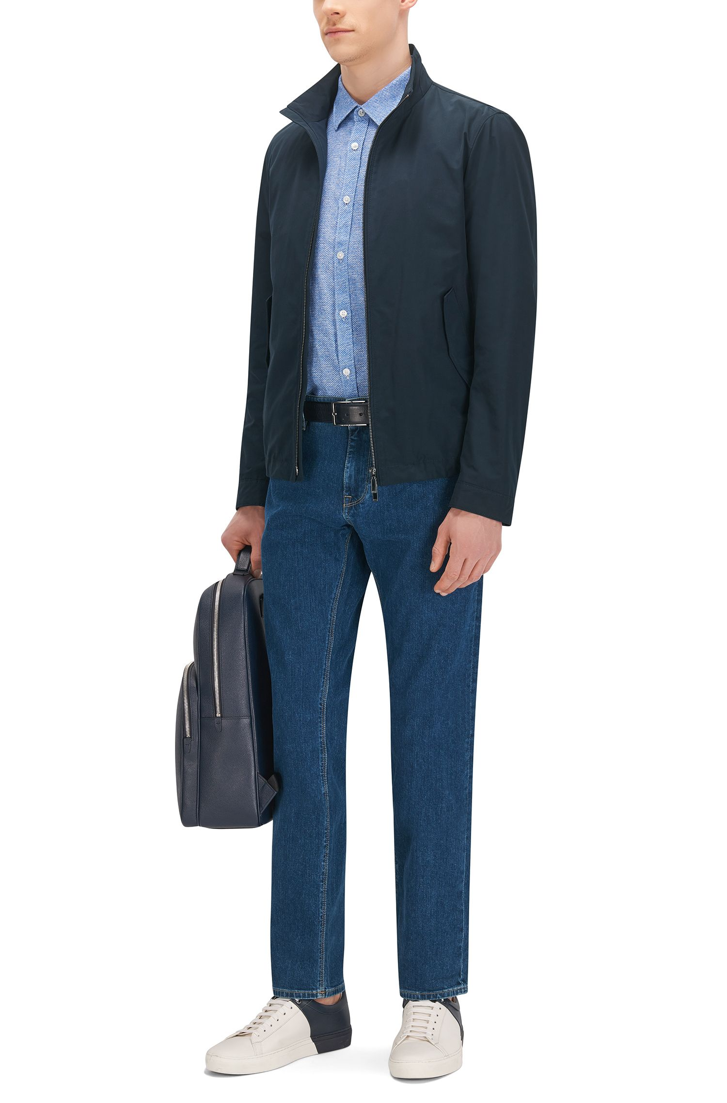 Linen Garment-Washed Button Down Shirt, Slim Fit | Ronn, Blue